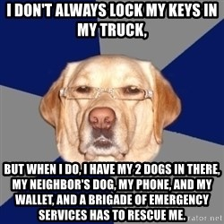 Racist Dog - I don't always lock my keys in my truck,  BUT WHEN I DO, I have my 2 dogs in there, my neighbor's dog, my phone, and my wallet, and a brigade of emergency services has to rescue me.
