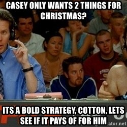 pepper brooks - Casey only wants 2 things for christmas? Its a bold strategy, cotton, lets see if it pays of for him