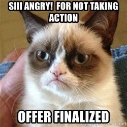 Grumpy Cat  - SIII angry!  For not taking action Offer finalized