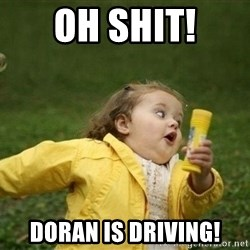 Little girl running away - Oh shit! DOran is driving!