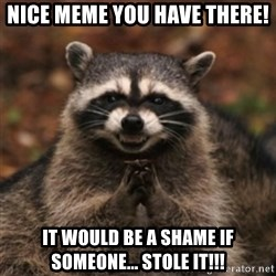 evil raccoon - Nice meme you have there! it would be a shame if someone... STOLE IT!!!