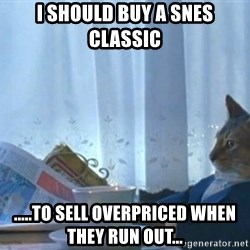 newspaper cat realization - I should buy a SNES Classic .....to sell overpriced when they run out...