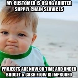 fist pump baby - My customer is using Anixter supply chain services projects are now on time and under budget & cash flow is improved