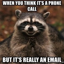 evil raccoon - When you think it's a phone call but it's really an email
