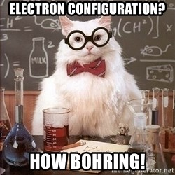 Chemistry Cat - Electron Configuration? How Bohring!