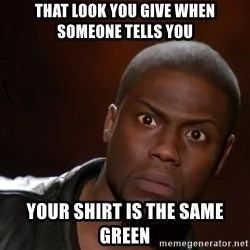kevin hart nigga - That look you give when someone tells you  YOUR SHIRT IS THE SAME GREEN