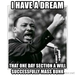 I HAVE A DREAM - I HAVE A DREAM THAT One day section A will successfully mass bunk