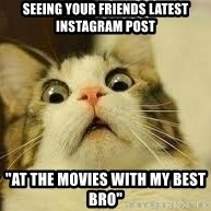 """WhYcAts - Seeing your friends latest instagram post """"At the movies with my best bro"""""""