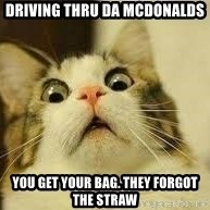 WhYcAts - Driving thru da mcdonalds you get your bag. they forgot the straw