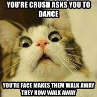 WhYcAts - YOu're crush asks you to dance you're face makes them walk away they now walk away