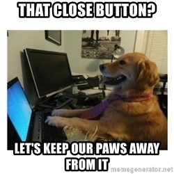 No Computer Idea Dog - That close button? Let's keep our paws away from it