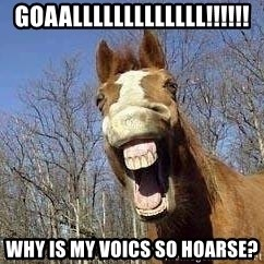Horse - Goaalllllllllllll!!!!!! why is my voics so hoarse?
