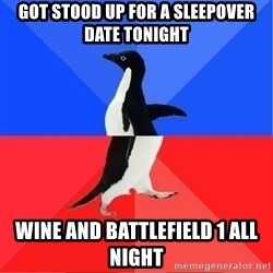 Socially Awkward to Awesome Penguin - Got stood up for a sleepover date tonight Wine and battlefield 1 all night