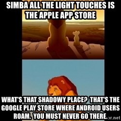 Lion King Shadowy Place - Simba all the light touches is the apple app store What's that shadowy place?  That's the google play store where android users roam.  You must never go there.