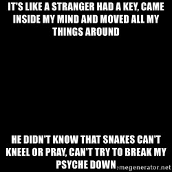 Blank Black - It's like a stranger had a key, came inside my mind and moved all my things around He didn't know that snakes can't kneel or pray, can't try to break my psyche down