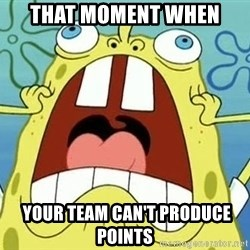 Enraged Spongebob - That moment when  YOUR team can't produce points