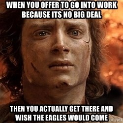Frodo  - When you offer to go into work because its no big deal Then You actually get there and wish the eagles would come