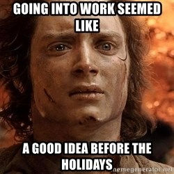 Frodo  - Going into work seemed like A good idea before the holidays