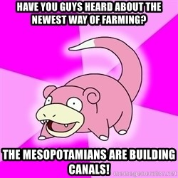 Slowpoke - have you guys heard about the newest way of farming? the mesopotamians are building canals!