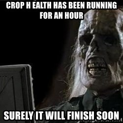OP will surely deliver skeleton - CRop h ealth has been running for an hour surely it will finish soon