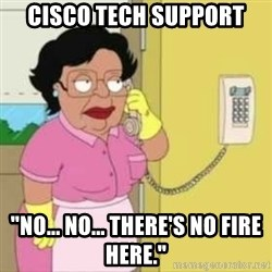 "Family guy maid - CISCO Tech support ""no... nO... there's no fire here."""