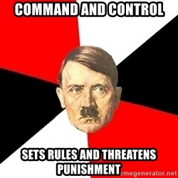 Advice Hitler - command and control sets rules and threatens punishment