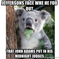 surprised koala - jeffersons face whe he fou out  That John Adams put in his midnight judges