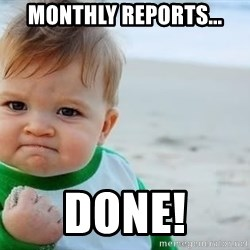 fist pump baby - MONTHLY reports... Done!