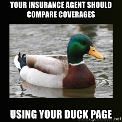 good advice duck - Your insurance agent should compare coverages using your Duck page