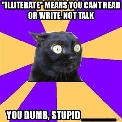 "Anxiety Cat - ""illiterate"" means you cant read or write, not talk you dumb, stupid ______"