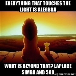 Simba - EVERYTHING THAT TOUCHES THE LIGHT IS ALEGBRA wHAT IS BEYOND THAT? lAPLACE siMBA AND 500