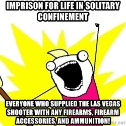 X ALL THE THINGS - imprison for life in solitary confinement everyone who supplied the las vegas shooter with any firearms, firearm accessories, and ammunition!