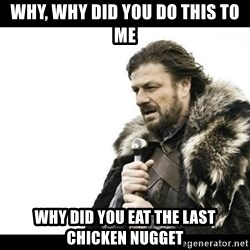 Winter is Coming - WHY, why did you do this to me why did you eat the last chicken nugget