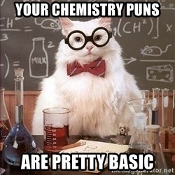 Chemistry Cat - Your chemistry puns Are pretty basic