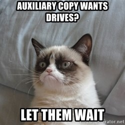 Grumpy cat good - AuxiLIARY COPY WANTS DRIVES? LET THEM WAIT