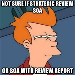 Not sure if troll - not sure if strategic review soa or soa with review report