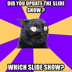 Anxiety Cat - Did you update the slide show ? Which slide show?