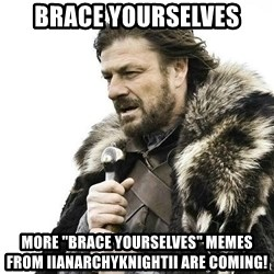 "Brace Yourself Winter is Coming. - Brace Yourselves More ""Brace Yourselves"" Memes From IIAnarchyKnightII Are coming!"