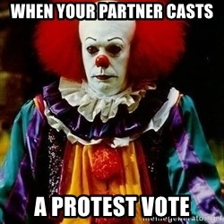 it clown stephen king - When your partner casts A protest vote