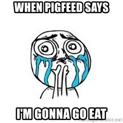 Crying face - WHEN PIGFEED SAYS I'm gonna go eat