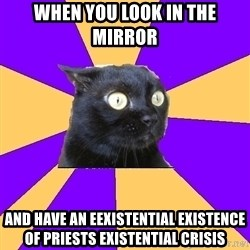 Anxiety Cat - When you look in the mirror  And have an eexistential existence of priests EXISTENTIAL crisis