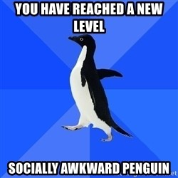 Socially Awkward Penguin - you have reached a new level socially awkward penguin