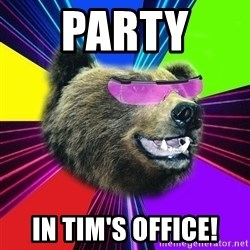 Party Bear - PARTY  IN TIM'S OFFICE!