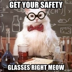Chemistry Cat - get your safety glasses right meow