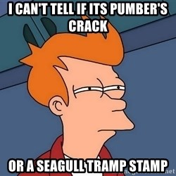 Futurama Fry - i can't tell if its pumber's crack or a seagull tramp stamp