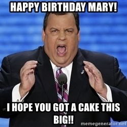 Hungry Chris Christie - Happy birthday mary! I hope you got a cake this big!!