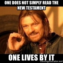 Does not simply walk into mordor Boromir  - ONe does not simply read the New Testament ONe lives by it