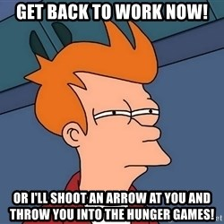 Futurama Fry - Get back to work now! Or i'll shoot an arrow at you and throw you into the Hunger Games!