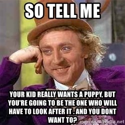 Charlie meme - So tell me your kid really wants a puppy, but you're going to be the one who will have to look after it . and you dont want to?