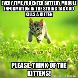 God Kills A Kitten - eVERY TIME YOU ENTER bATTERY mODULE INFORMATION IN THE STRING TAB GOD KILLS A KITTEN PLEASE, THINK OF THE KITTENS!